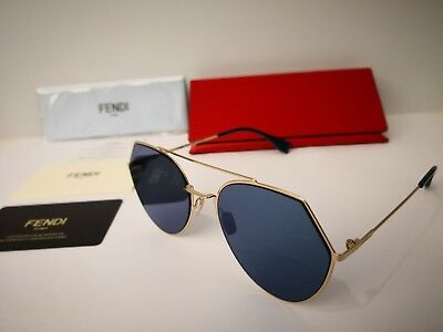 28d33e1308 New Fendi Eyeline FF 0194 000 2A Aviator Sunglasses Rose Gold   Blue Mirror  Lens