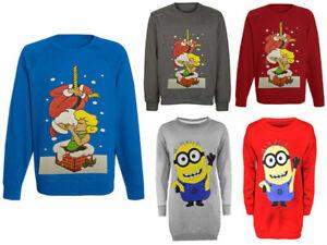 Women-Ladies-Xmas-Novelty-Minion-Santa-Kiss-Print-Christmas-Sweatshirt-Jumper