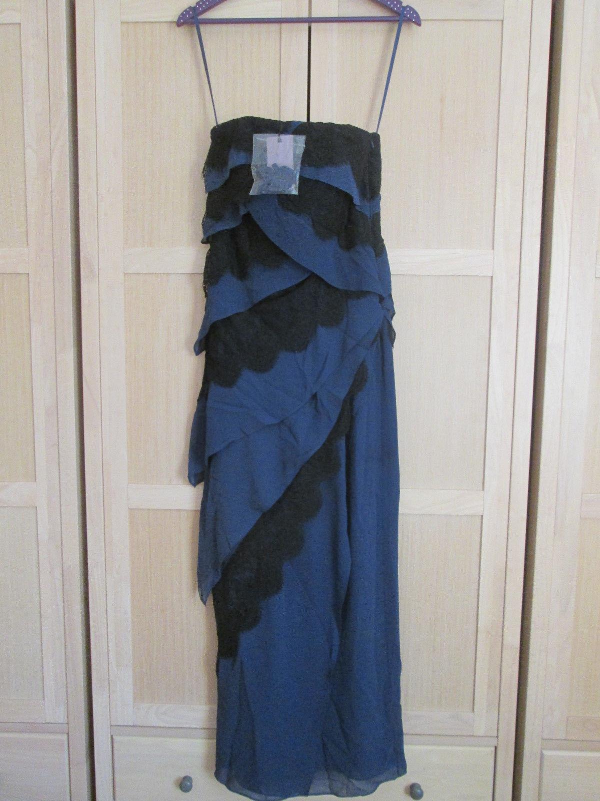 Ladies COAST 100% SILK blueE MAXI DRESS UK SIZE 8 NEW WITH ORIGINAL TAGS RRP