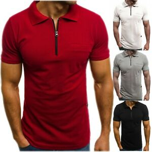 Details about Men's Slim Fit Polo Shirt Short Sleeve Casual Solid Color Golf T-Shirt Tops Tee