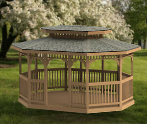 Details about 12' x 16' Oval Garden Gazebo with Hip Roof Building Plans