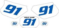 1991-2003 Yamaha Dtr 125 Pre-printed White Backgrounds With Blue Numbers