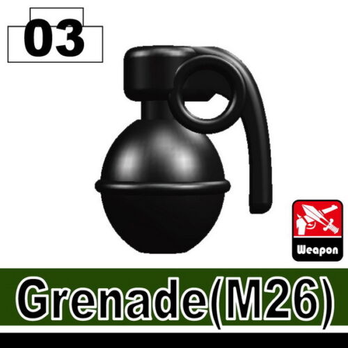 Black Frag Grenade W29 compatible with toy brick minifigures SWAT ARMY