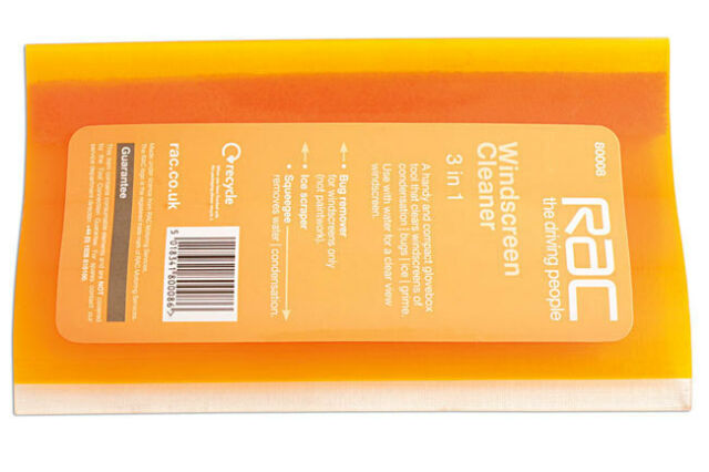 RAC 3 IN 1 WINDSCREEN GLASS CLEANER ICE FROST SCRAPER BUG REMOVER TOOL
