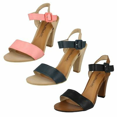 LADIES ANNE MICHELLE L3392 T BAR STUDDED HIGH HEEL CASUAL EVENING BUCKLE SANDALS