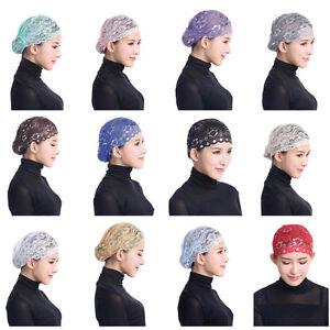 Muslim Inner Hat Lace Under Scarf Hijab Bonnet Cap Headwear Islamic ... d646a60f6da