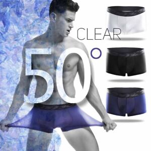 Sexy-Mens-Ice-Silk-Quick-Dry-Boxer-Briefs-Shorts-Thong-Underwear-Breathable