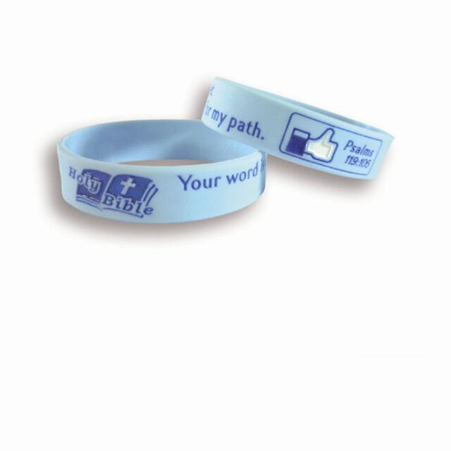 Bible Christian Silicone Rubber Elasticity Wristband Wrist Band Cuff Bracelet