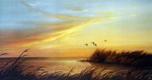 "Lynn Kaatz /""Sunset Point/"" Sunset Duck Pond  Print  23/""x 12/"""