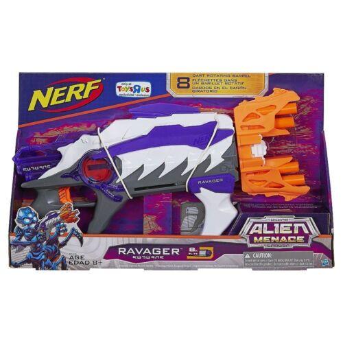 Brand New NERF Alien Menace RAVAGER Dart BLASTER 8 Dart Rotating Barrel RARE