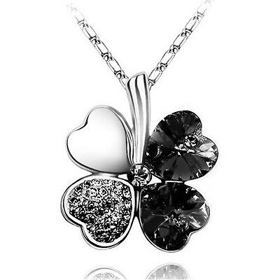 Black Crystal & Silver 4 Leaves Clover Crystal Pendant Necklace N399