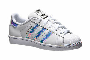 Image is loading Adidas-Superstar-Junior-White-Hologram-Girls-Womens-Shoes-