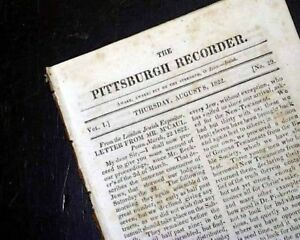 Rare-PITTSBURGH-PA-Western-Pennsylvania-19th-Century-Volume-1-1822-Old-Newspaper
