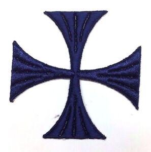 Vintage-Cruz-Bordado-4-034-para-Coser-Azul-Marino-Maltes-Emblema-Parche-2PC