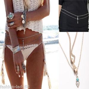 Sexy-Women-Beach-Bikini-Harness-Belly-Waist-Charm-Silver-Body-Chain-New-Jewelry