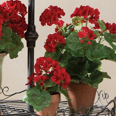"""NEW!~RAZ Imports~17/"""" Potted Red Geranium Flower~Spring//Easter//Wreath//Summer Pot"""