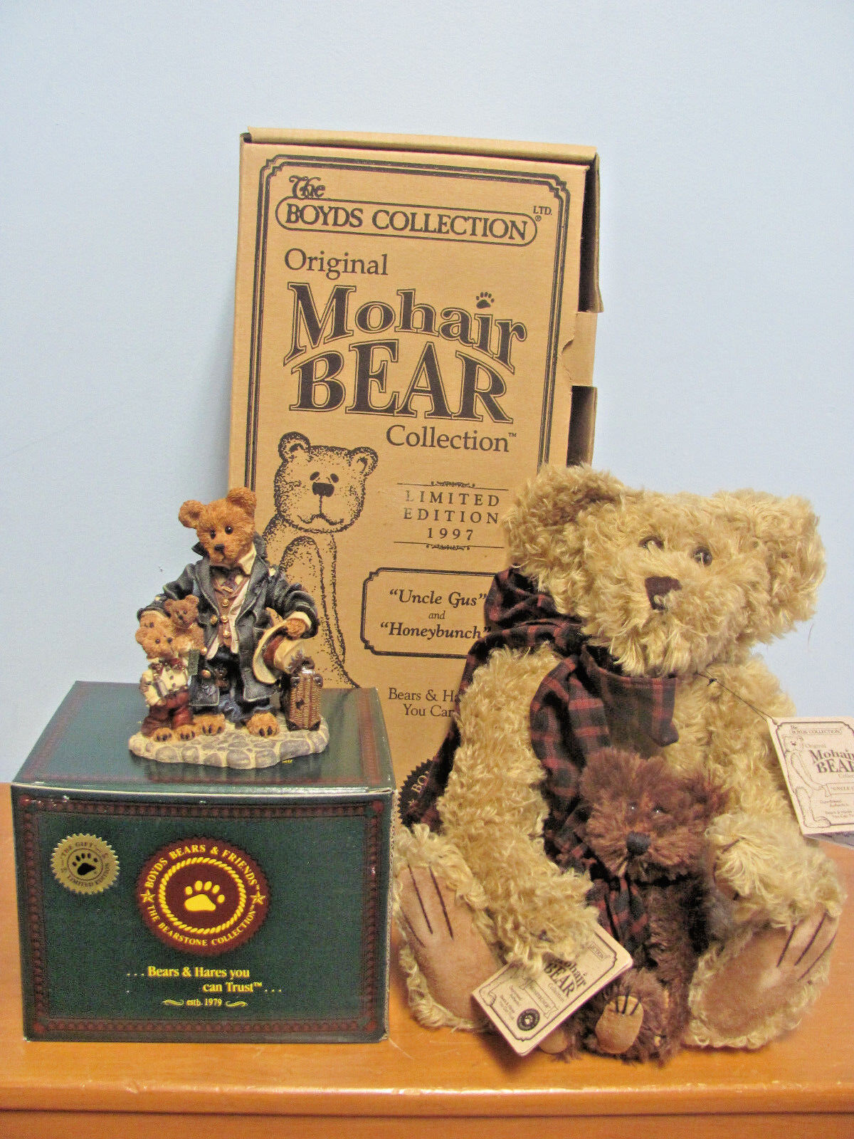NIB BOYDS BEARS LIMITED EDITION 1997 UNCLE GUS AND HONEYBUNCH ORIGINAL MOHAIR