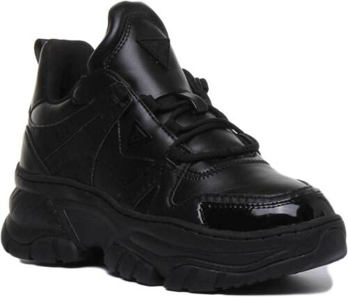 Guess Blushy Women Faux Leather Wedge Platform Trainer In Black Size UK 3-8