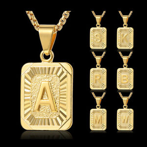 Fashion-Gold-Filled-A-Z-Initial-Letter-Pendant-Necklace-Box-Chain-Unisex-Gift