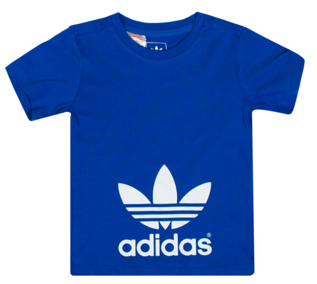 c7c8a9b68 Adidas Originals Boys Organic Cotton Shoulder Button T-Shirt Tee Baby  Infants