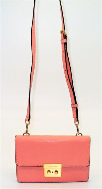 2cf349cacf00 Michael Kors Sloan Small Gusset Crossbody Pale Pink Gold Leather Handbag
