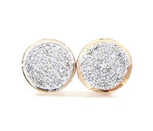 0-16ct-Mens-Ladies-14k-Rose-Real-Gold-Diamond-Pave-Circle-Round-Earrings-Studs