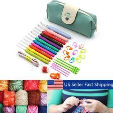 44pcs Bamboo Circular Crochet Hooks Yarn Knitting Needles Set Kit With Bag Tool