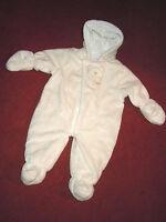 Baby Outdoor-Plüsch-Overall v. GEORGE UK, wattiert m. Jerseyfutter - bis 12 Mon.
