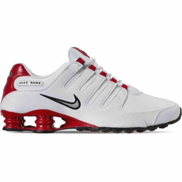 huge selection of 8025d e7616 New Nike Men's Shox NZ Leather Shoes (378341-110) White // Met Silver-Univ  Red