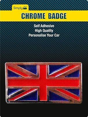 UNION JACK CHROME SELF ADHESIVE CAR BADGE EMBLEM