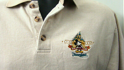 Disneyland Small Tan Brown Polo 50 Years Mickey Mouse Castle Banner 100% Cotton