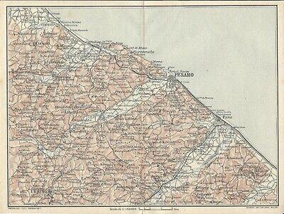 Cartina Topografica Marche.Costa Adriatica Romagna Marche Pesaro Fano Carta Geografica Touring Club 1924 Ebay