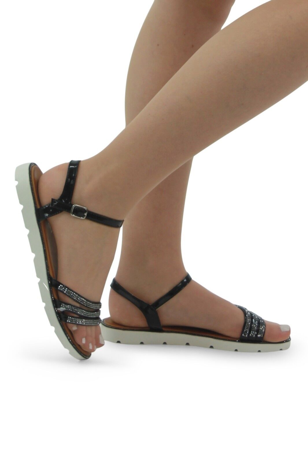 Ladies sole Women's Girls Flat Cleated sole Ladies strap sandals Ankle Strap Diamante Shoes e41246