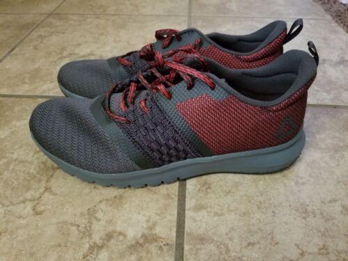 New Mens Reebok Print Lite Rush Shoes Athletic Gray White Coal Red 11 11.5 12 13