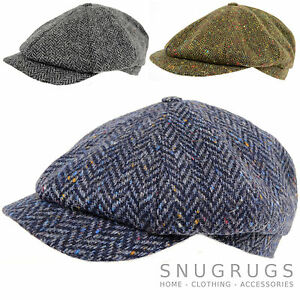 Hommes-100-Laine-Tweed-8-Pieces-Casquette-Gavroche-Chasse