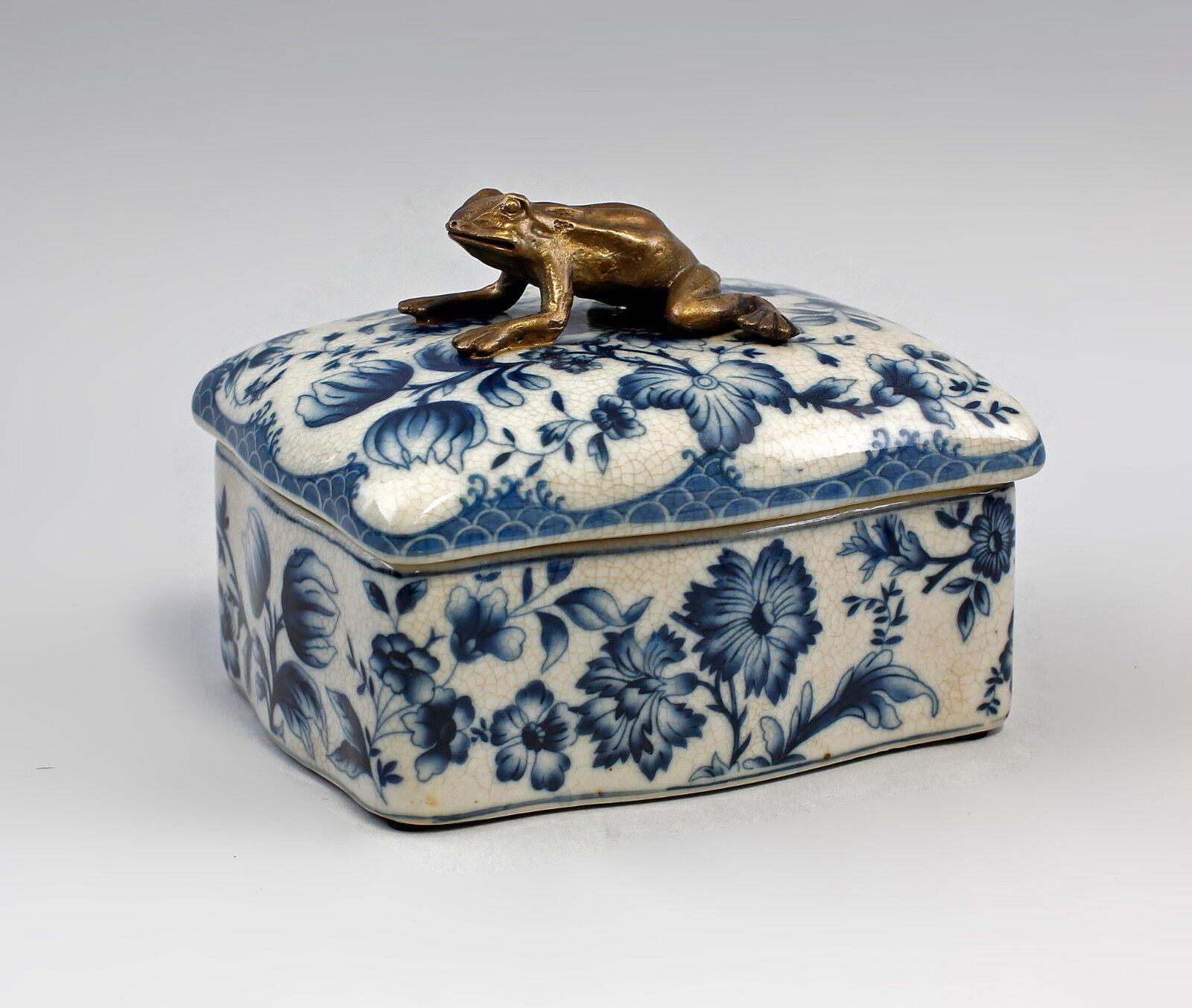 9977368 Messing Keramik Dose Floraldekor Frosch blau 10x14cm 10x14cm 10x14cm | Verschiedene Stile und Stile  5a9044