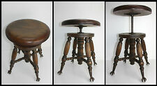 Antique Wood Charles Parker Co Adjustable Organ Piano Stool Glass Ball Claw Feet
