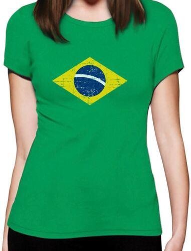 Brazil Flag Vintage Style Retro Brazilian Women T-Shirt Gift Idea