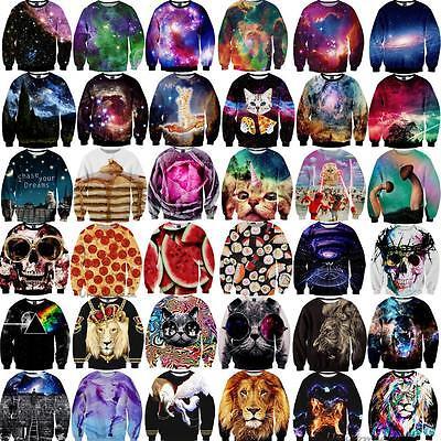 Galaxy Women Men 3D Animal Print Hoodie Sweatshirt Pullover Top Tracksuit Jumper