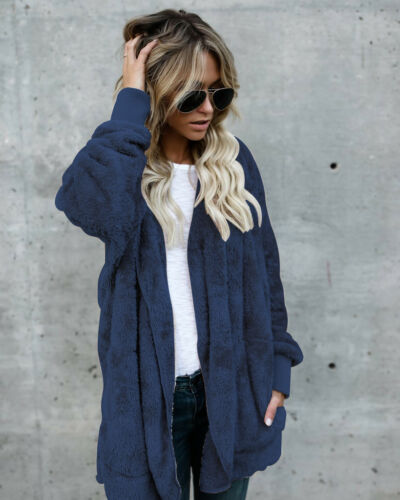 Fashion Women Fleece Fur Jacket Outerwear Tops Winter Warm Hooded Fluffy Coat