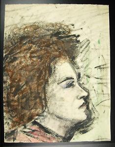 Portrait-of-lady-profile-Gouache-original-on-paper-anonymous-artist-to-determine
