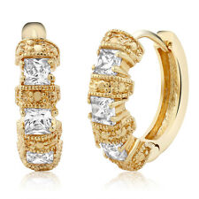 Gold Plated Huggie Hoop Earrings with Cubic Zirconia (15MM Length x 4MM Width)
