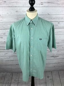 FRED-PERRY-Short-Sleeved-Oxford-Shirt-Small-Green-Great-Condition-Men-s