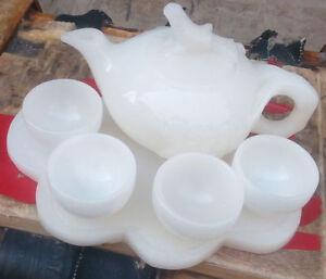100% pure natural handmade Afghanistan jade cup and tea pot bird lid