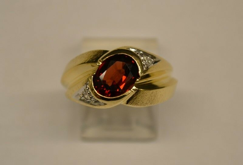 Almandite Garnet Gent's Stone & Diamond Ring 2 Diamonds .02 Carat T. (FCO002017)