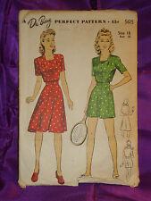 40s Vtg Front Button Playsuit n Wrap Skirt CMPLT DuBarry Pattern 5615 Bust 34