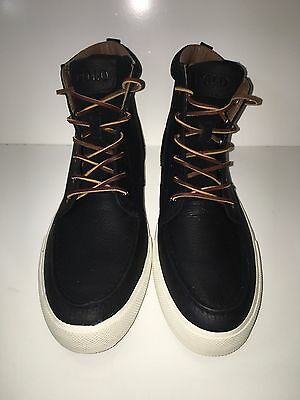new polo ralph lauren tedd casual hightop black leather