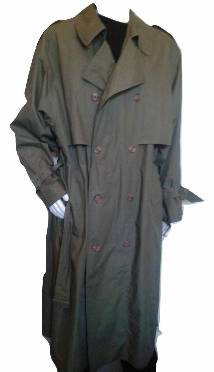 Mens Green Trench Coat London Towne Size 44 Long