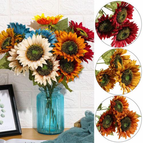 3Head Silk Sunflower Artificial Flower Real Touch Fake Flores Bouquet Home Decor