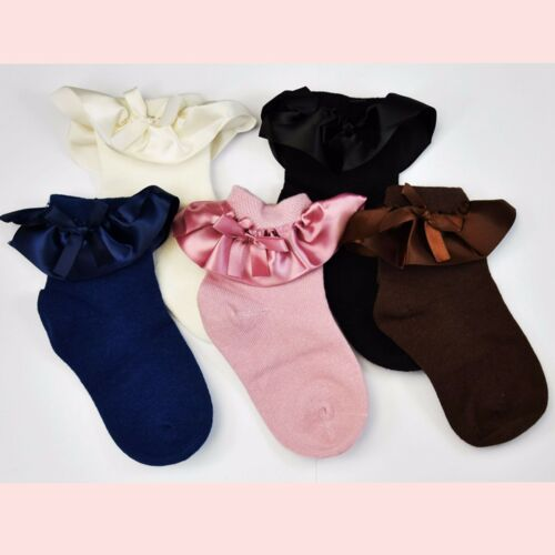 Kids Satin Bow Lace Socks 2-12 Years Girls Children 100/% Cotton 5 Colours